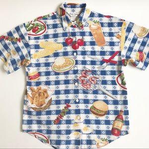 Vintage Sharon Young Picnic BBQ Linen Shirt Size 6